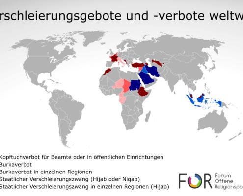 Kopftuchverbot, Burkaverbot, Kopftuchzwang, Niqabzwang weltweit, Weltkarte